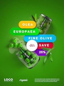 Banner flotante de publicidad de oliva fina