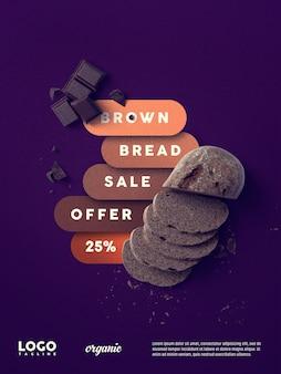 Banner flotante de publicidad de pan y chocolate