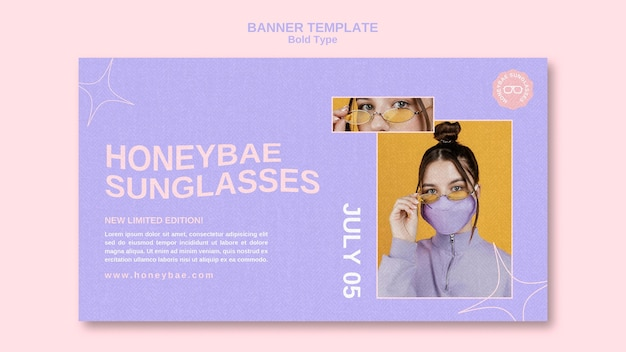 Banner de gafas de sol tipo negrita
