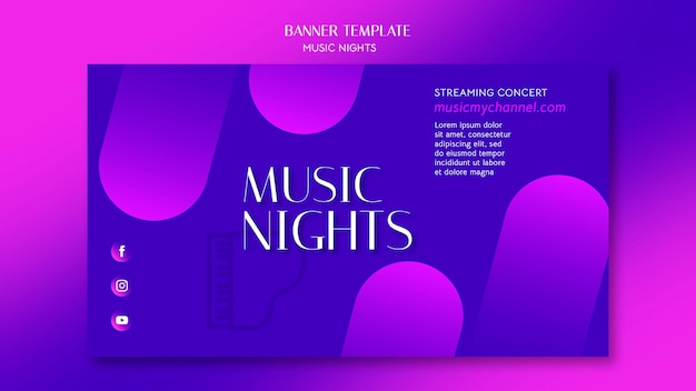 Banner de gradiente horizontal para festival de noches de música