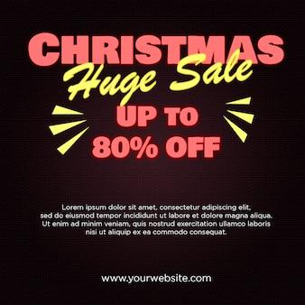 Banner de gran venta de navidad 80% de descuento en diseño de estilo neón