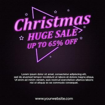 Banner de gran venta de navidad en diseño de estilo neón