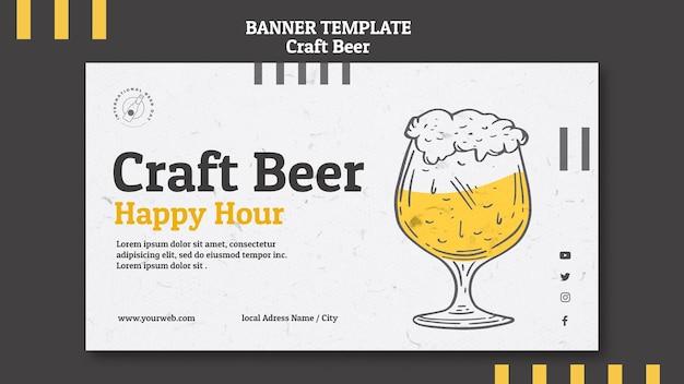 Banner de happy hour de cerveza artesanal
