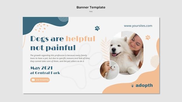 Banner horizontal para adopción de mascotas.