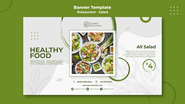 Banner horizontal de alimentos saludables