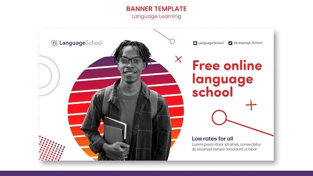 Banner horizontal de aprendizaje de idiomas