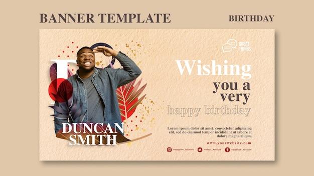 Banner horizontal para celebración de aniversario de cumpleaños