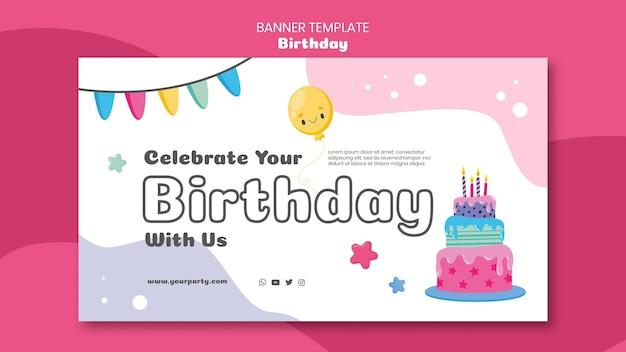 Banner horizontal de celebración de cumpleaños