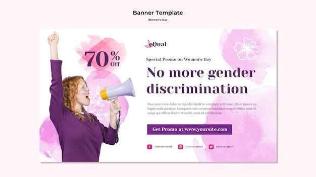 Banner horizontal para la celebración del día de la mujer.