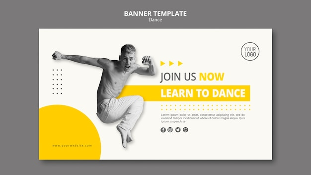 Banner horizontal para clases de baile.