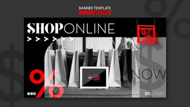 Banner horizontal de compras de moda en línea
