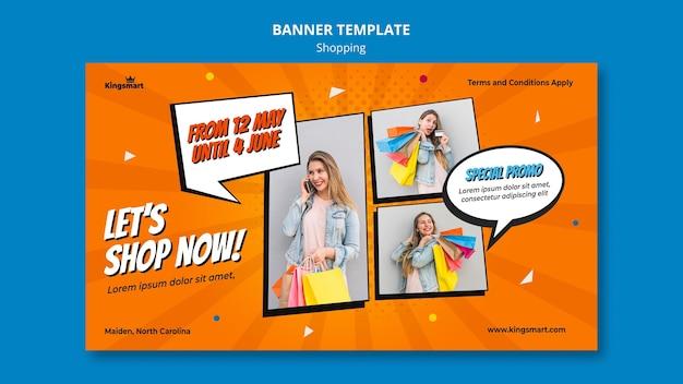 Banner horizontal para compras con mujer sosteniendo bolsas de compras.