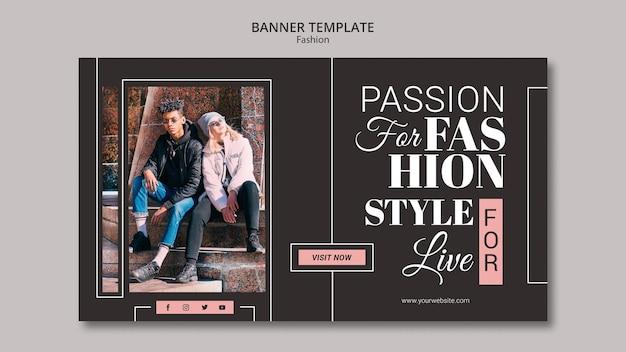 Banner horizontal de concepto de moda