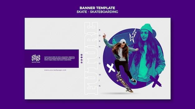 Banner horizontal del concepto de skate