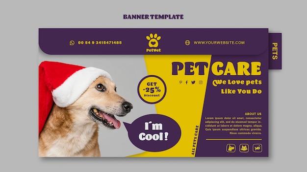 Banner horizontal de cuidado de mascotas