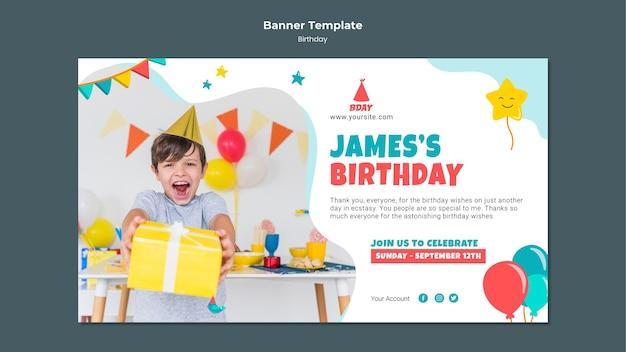Banner horizontal de cumpleaños infantil