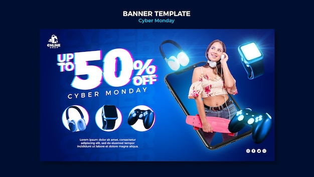 Banner horizontal para cyber monday con mujer y artículos.