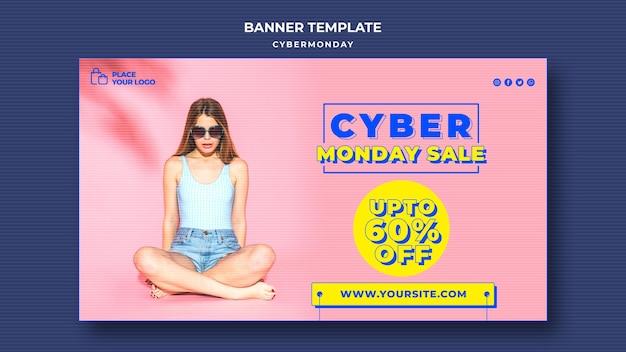 Banner horizontal para cyber monday shopping