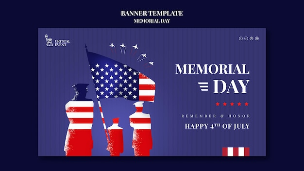Banner horizontal para el día conmemorativo de ee. uu.