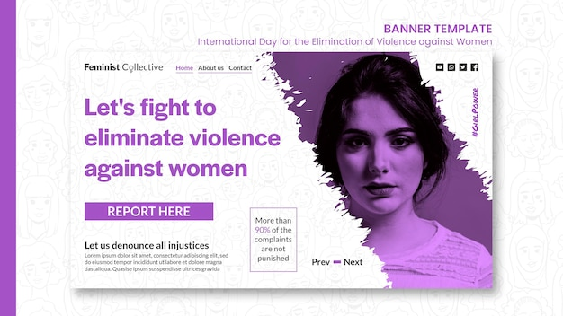 Banner horizontal para el día internacional para la eliminación de la violencia contra la mujer