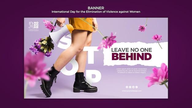 Banner horizontal del día internacional para la eliminación de la violencia contra la mujer