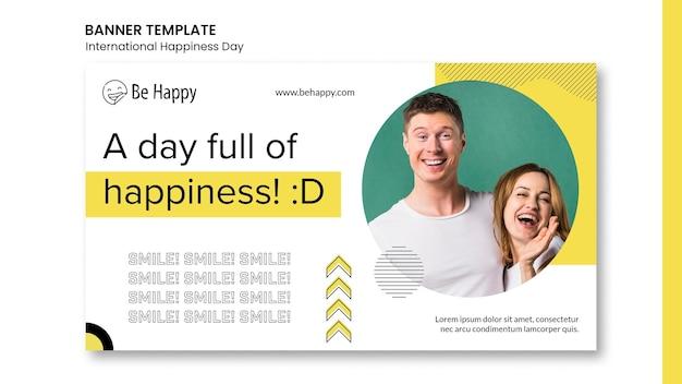 Banner horizontal para el día internacional de la felicidad.