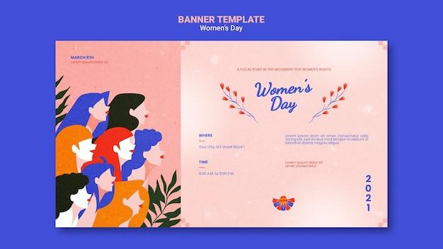Banner horizontal del día de la mujer hermosa ilustrado
