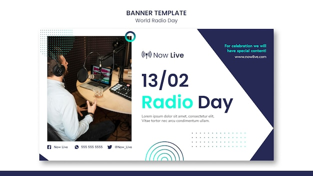 Banner horizontal para el día mundial de la radio.