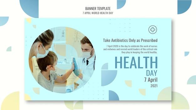 Banner horizontal del día mundial de la salud con foto