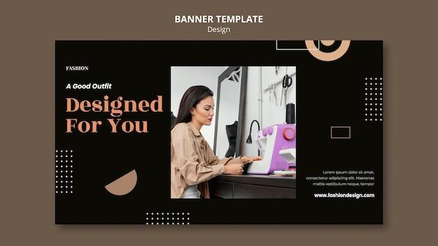 Banner horizontal para diseñador de moda.