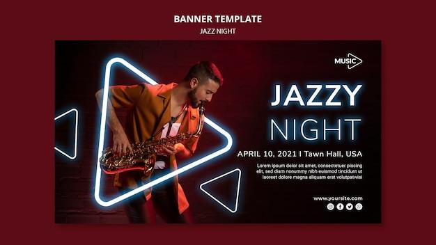 Banner horizontal para evento nocturno de jazz de neón.