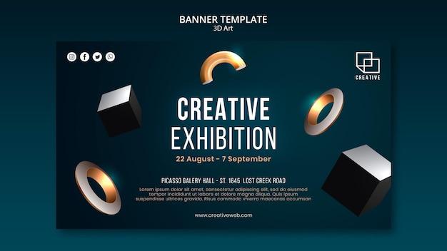 Banner horizontal para exposición de arte con formas creativas tridimensionales.