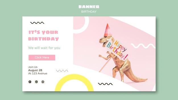 Banner horizontal feliz cumpleaños