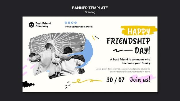 Banner horizontal feliz día de la amistad
