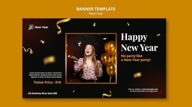 Banner horizontal para fiesta de año nuevo con mujer y confeti.