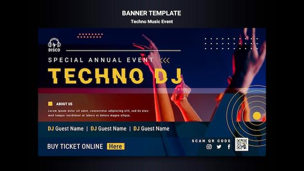 Banner horizontal para fiesta nocturna de música techno.
