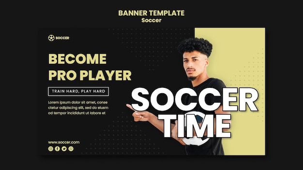 Banner horizontal para fútbol con jugador masculino.