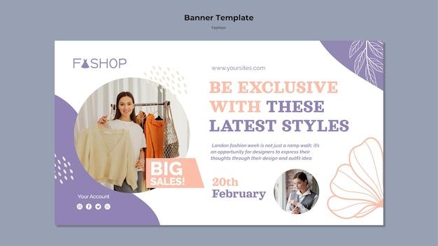 Banner horizontal de gran venta de moda