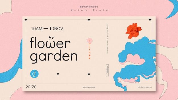 Banner horizontal para jardín de flores