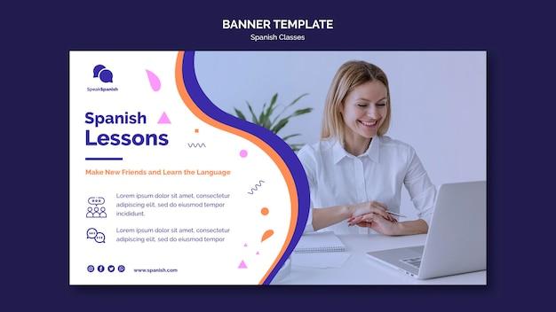 Banner horizontal de lecciones de español