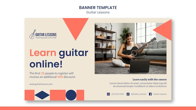 Banner horizontal para lecciones de guitarra.