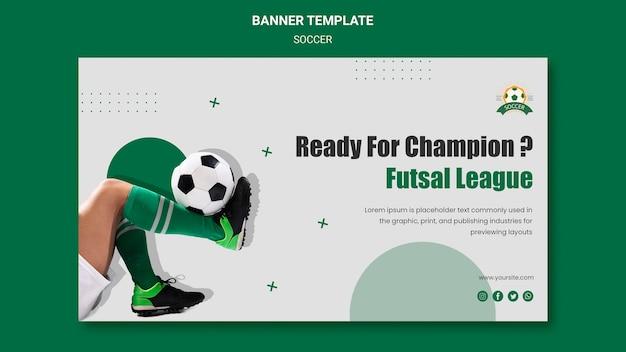 Banner horizontal para liga de fútbol femenino.