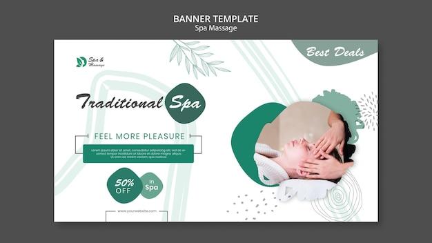 Banner horizontal para masaje spa con mujer.