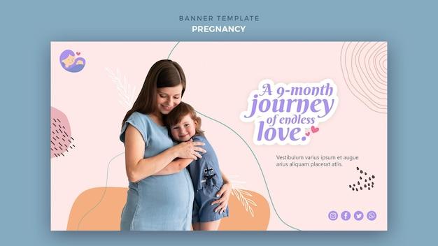 Banner horizontal con mujer embarazada