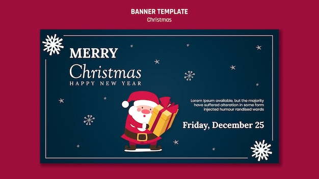 Banner horizontal para navidad con santa claus