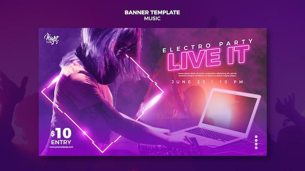Banner horizontal de neón para música electrónica con dj femenina