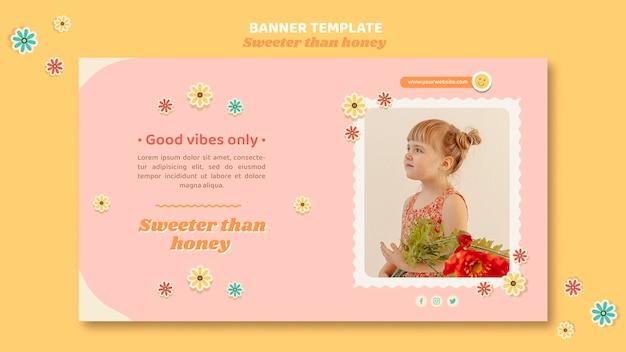 Banner horizontal para niños con flores.