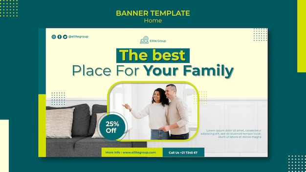 Banner horizontal para nueva casa familiar.