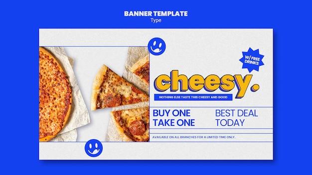 Banner horizontal para un nuevo sabor a pizza con queso