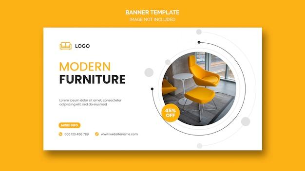 Banner horizontal o portada de facebook con diseño minimalista y descuento en muebles para el hogar